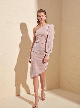 Ružové lesklé šaty Trendyol