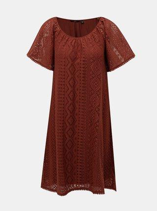 Hnedé krajkové šaty VERO MODA Lea