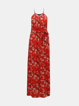 Červené květované maxišaty VERO MODA Simply