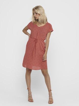 Cihlové puntíkované šaty Jacqueline de Yong Caro