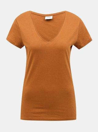 Hnědé basic tričko Jacqueline de Yong Chicago