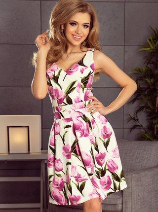 Bielo-ružové kvetované šaty Numoco