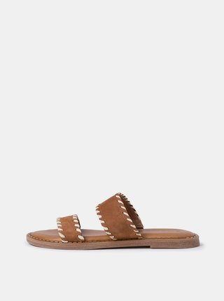 Hnědé kožené pantofle v semišové úpravě  Tamaris