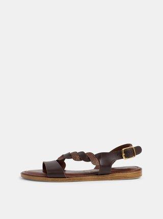 Tmavohnedé kožené sandále Tamaris