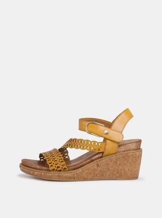Žlté kožené sandálky na plnom podpätku Tamaris