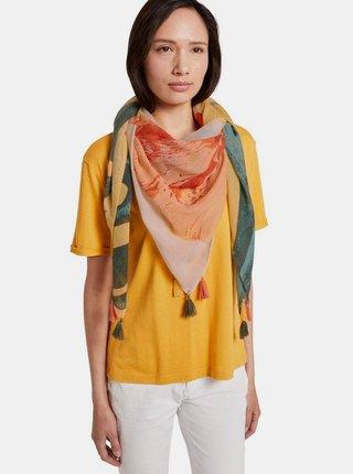 Oranžový vzorovaný dámský šátek Tom Tailor