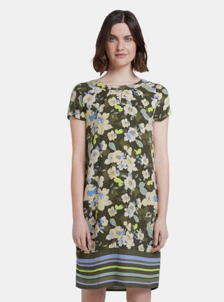 Tmavozelené dámske kvetované šaty Tom Tailor