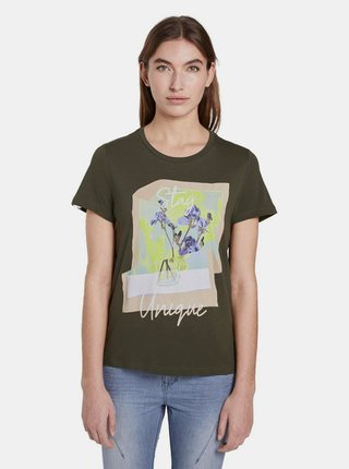 Khaki dámské tričko Tom Tailor