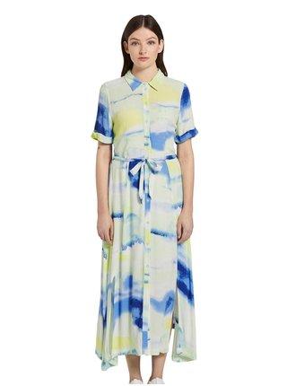 Modro-biele dámske košeľové maxišaty Tom Tailor Denim