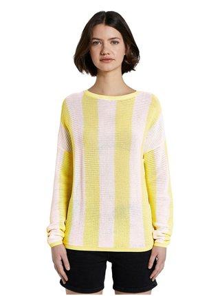 Bielo-žltý dámsky pruhovaný sveter Tom Tailor Denim