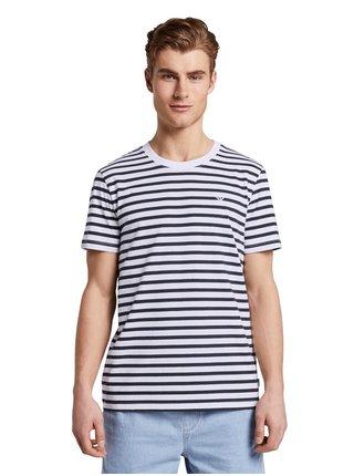 Modro-biele pánske pruhované tričko Tom Tailor Denim