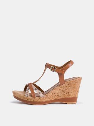 Hnědé kožené sandálky Tamaris