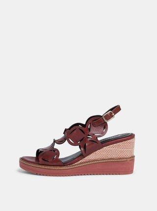 Vínové kožené sandálky Tamaris