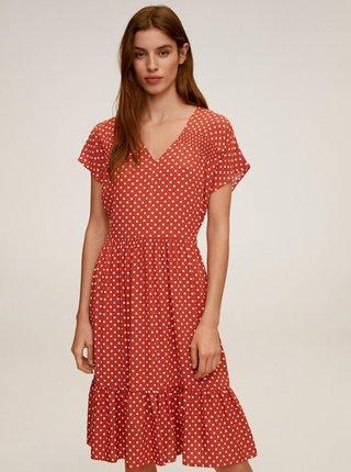Cihlové puntíkované šaty Mango Laura