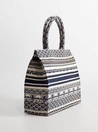 Modro-krémová vzorovaná kabelka Mango Cavas