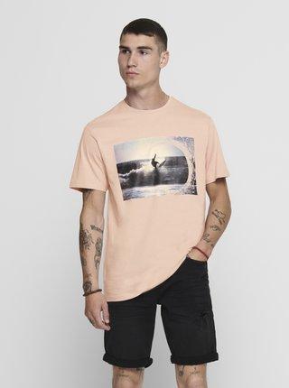 Světle růžové tričko ONLY & SONS Ilo
