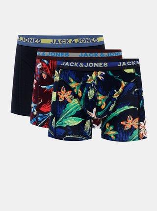 Sada troch vzorovaných boxeriek v tmavomodrej farbe Jack & Jones Tropical