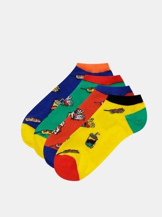 Sada čtyř párů ponožek v žluté, červené a modré barvě Jack & Jones Fast Food