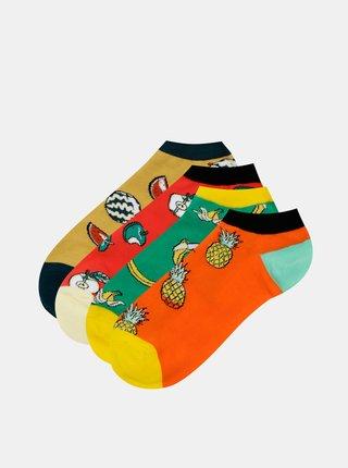 Sada štyroch párov ponožiek v oranžovej, červenej a zelenej farbe Jack & Jones Good Food