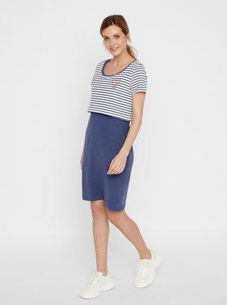 Modré pruhované tehotenské/dojčiace šaty Mama.licious Cilla