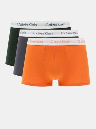 Sada troch boxeriek v čiernej, modrej a oranžovej farbe Calvin Klein Underwear