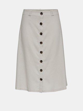 Krémová sukňa s prímesou ľanu ONLY Adeline