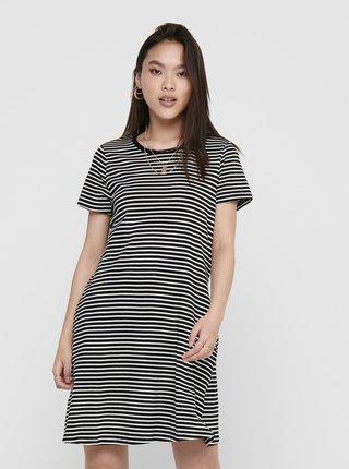 Bílo-černé pruhované basic šaty ONLY May