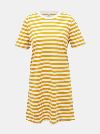 Bílo-žluté pruhované basic šaty ONLY June
