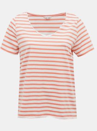Bielo-ružové pruhované basic tričko ONLY CARMAKOMA Life
