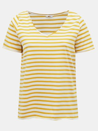 Bielo-žlté pruhované basic tričko ONLY CARMAKOMA Life