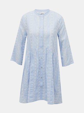 Světle modré pruhované šaty s madeirou ONLY Chicago
