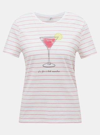 Bílo-růžové tričko ONLY Kita
