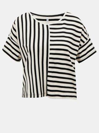 Bielo-čierne pruhované voľné tričko ONLY Marie