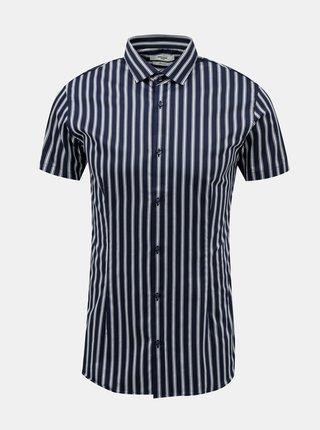 Tmavomodrá pruhovaná košeľa Jack & Jones Blaparma