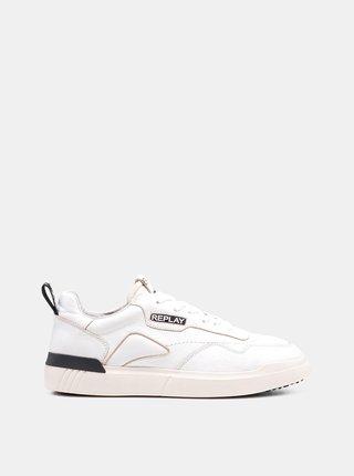 Biele pánske kožené tenisky Replay