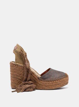 Hnedé dámske sandálky na plnom podpätku Replay