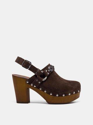 Hnědé semišové sandálky na podpatku Replay