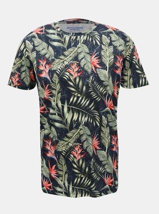 Tmavomodré vzorované tričko Jack & Jones Reli