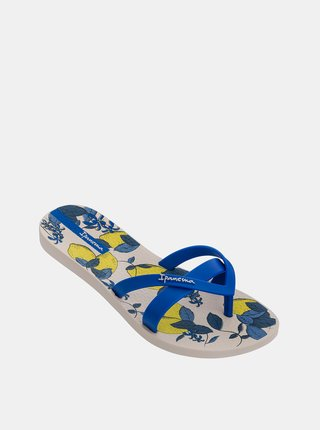 Žluto-modré dámské vzorované žabky Ipanema
