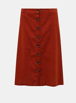 Cihlová sukně s příměsí lnu ONLY Adeline