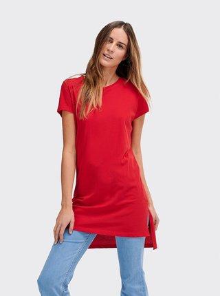 Červené dámské dlouhé basic tričko Alcott