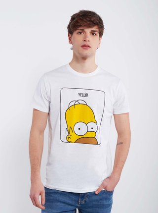 Bílé pánské tričko Alcott Homer Simpson