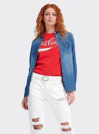 Modrá dámska rifľová košeľa Alcott