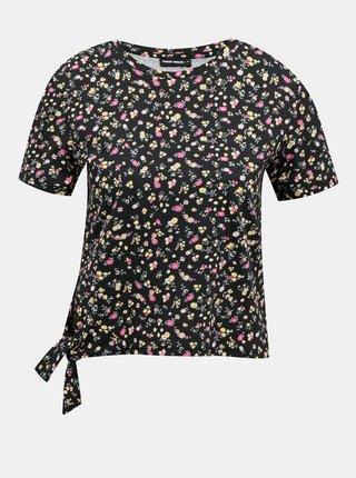 Čierne kvetované krátke tričko TALLY WEiJL