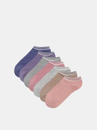 Sada siedmich párov nízkych ponožiek v hnedej a zelenej farbe TALLY WEiJL