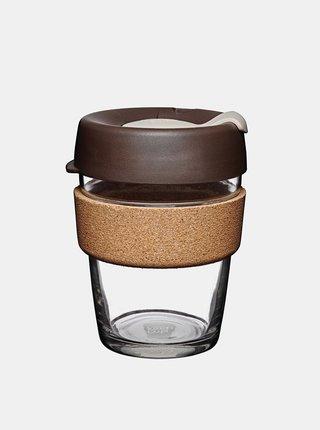 Hnědý skleněný cestovní hrnek KeepCup Brew Cork medium 340 ml