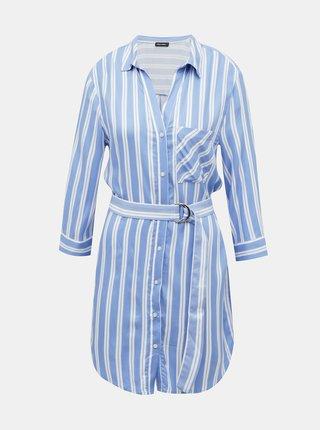 Modré pruhované košeľové šaty TALLY WEiJL
