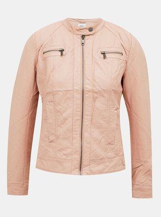 Růžová koženková bunda ONLY