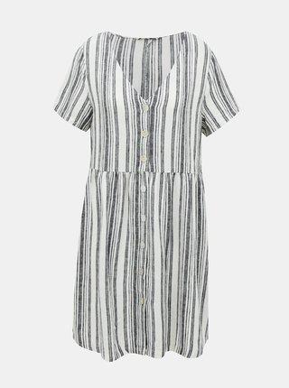 Bielo-šedé ľanové pruhované šaty ONLY Alfina
