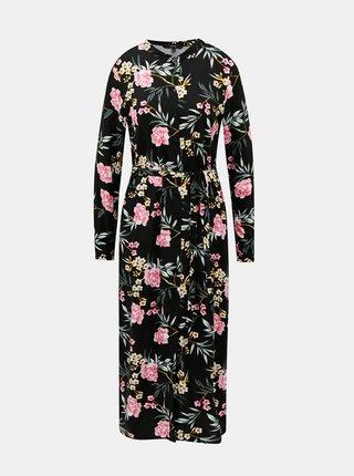 Černé květované košilové maxišaty VERO MODA Simply